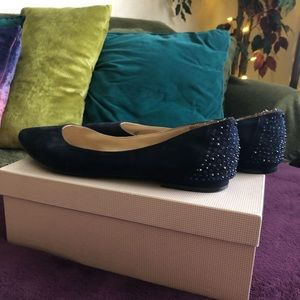 Navy blue suede crystal flats